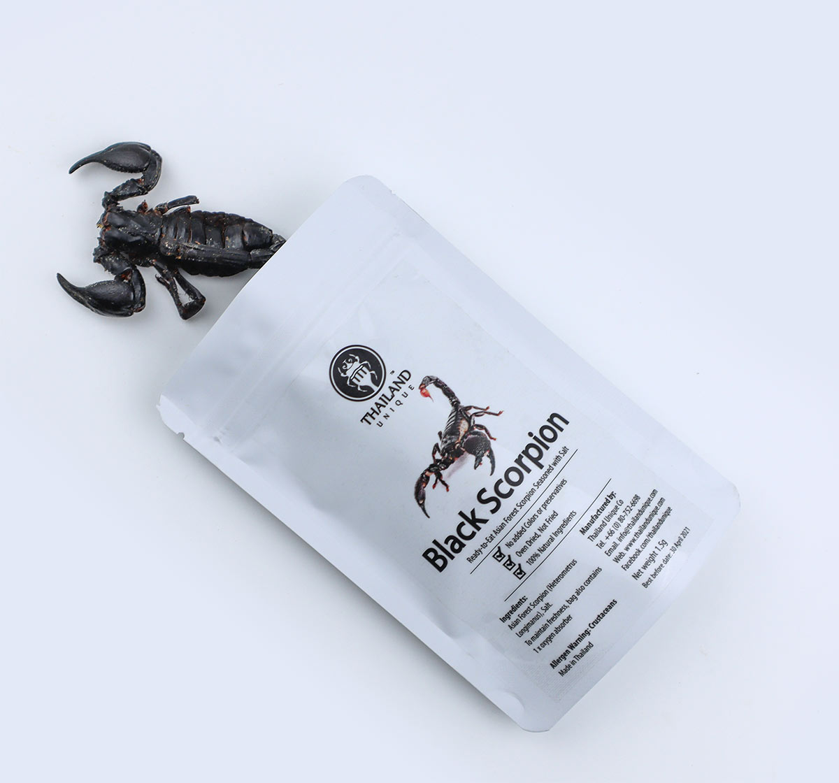 edible black scorpion in bag